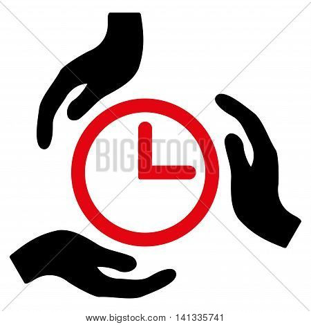 Time Care vector icon. Style is bicolor flat symbol, intensive red and black colors, rounded angles, white background.