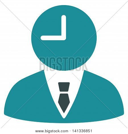 Time Manager vector icon. Style is bicolor flat symbol, soft blue colors, rounded angles, white background.