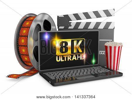 8K laptop popcorn and film strip on a white background. 3d render.