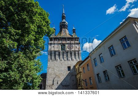 Famous Clock Tower in Sighisoara town in Romania