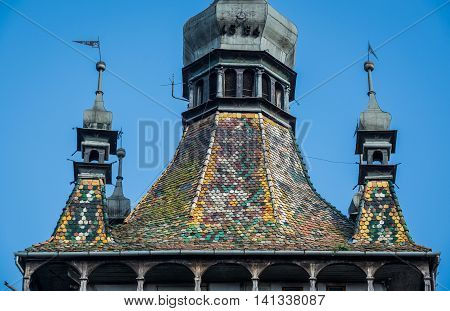 Roof of Famous Clock Tower in Sighisoara town in Romania