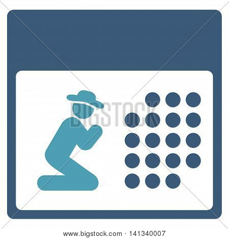 Pray Organizer vector icon. Style is bicolor flat symbol, cyan and blue colors, rounded angles, white background.