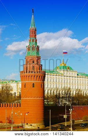 Moscow Kremlin Tower and Kremlin palace. UNESCO World Heritage Site.