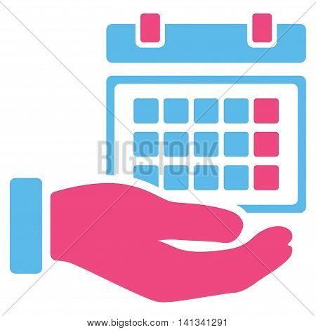 Service Timetable vector icon. Style is bicolor flat symbol, pink and blue colors, rounded angles, white background.