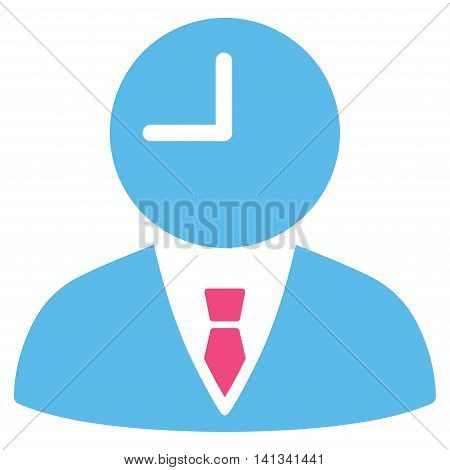 Time Manager vector icon. Style is bicolor flat symbol, pink and blue colors, rounded angles, white background.
