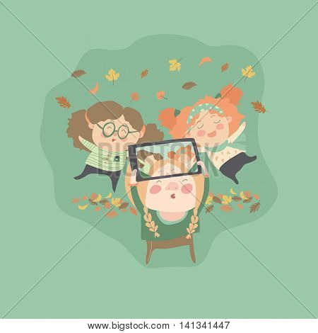 Girls friends taking selfie photo with autumn leaves. Vector illustration