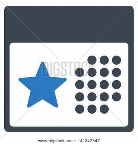 Holiday Binder vector icon. Style is bicolor flat symbol, smooth blue colors, rounded angles, white background.