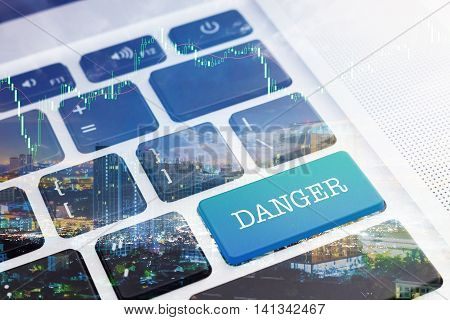 DANGER : Green button keyboard computer. Double Exposure Effects. Digital Business and Technology Concept.