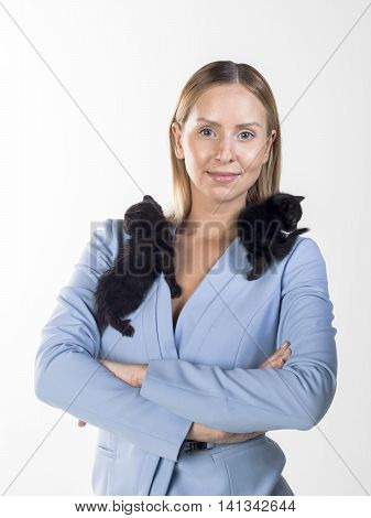 beautiful blond business women wearing blue jacket and pant