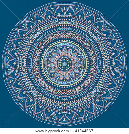 Drawing of a floral mandala in blue, yellow, turquoise and orange colors on a dark blue background