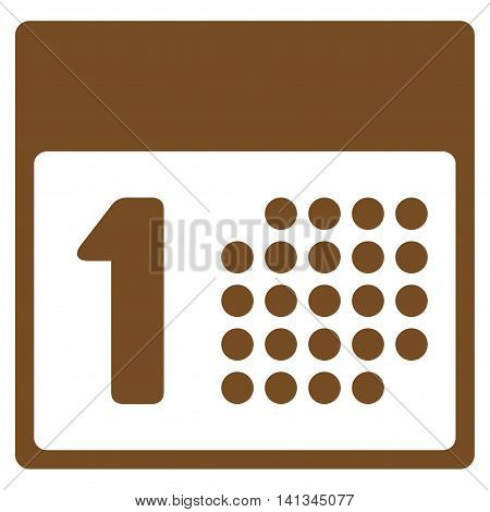 First Date vector icon. Style is flat symbol, brown color, rounded angles, white background.