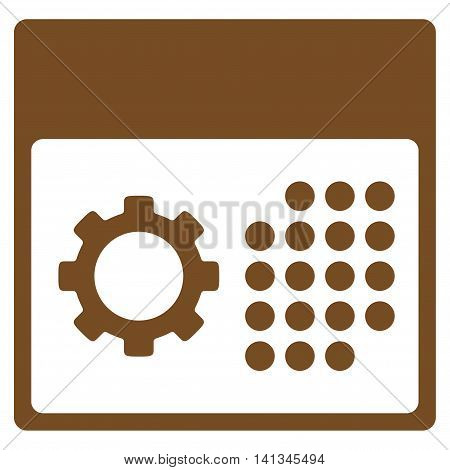 Service Binder vector icon. Style is flat symbol, brown color, rounded angles, white background.