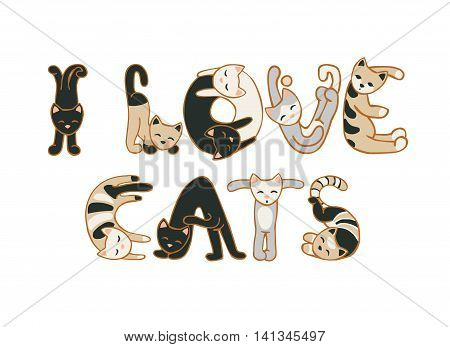 I love cats. Vector inscription of cats letters