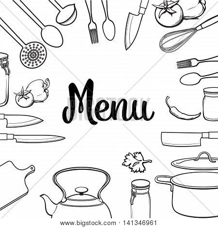 Kitchenware and cutlery square menu design sketch style illustration isolated on white background. Concept of menu banner poster cover with kitchen utensils and empty space for text