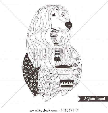 Afghan hound. Coloring book for adult, antistress coloring pages. Hand drawn vector isolated illustration on white background. Henna mehendi, tattoo sketch