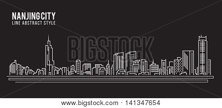 Cityscape Building Line art Vector Illustration design - Nanjing city