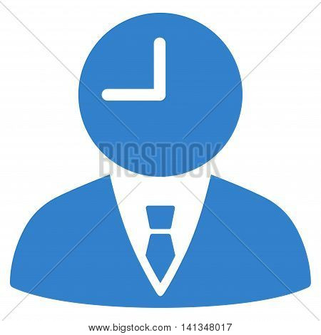 Time Manager vector icon. Style is flat symbol, cobalt color, rounded angles, white background.