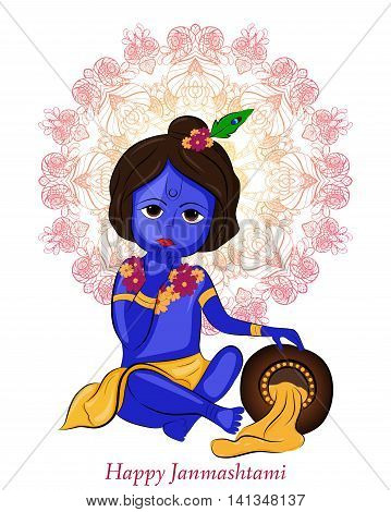 Little Cartoon Lord Krishna With Pot Of Butter. Greeting Card For Krishna Birthday. Happy Janmashtam