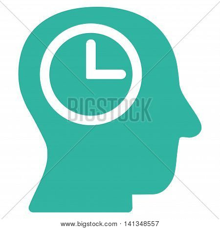 Time Manager vector icon. Style is flat symbol, cyan color, rounded angles, white background.