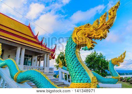 The Naga in Wat Ahong Silavas temple at Buengkan, Thailand.