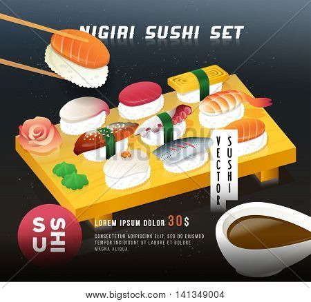 Menu cover background. Chopsticks and sushi, with soy sauce on the foreground.