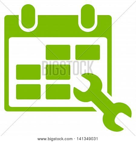 Configure Timetable vector icon. Style is flat symbol, eco green color, rounded angles, white background.