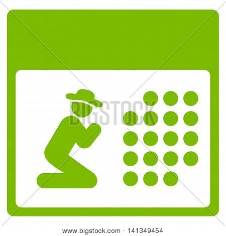 Pray Organizer vector icon. Style is flat symbol, eco green color, rounded angles, white background.