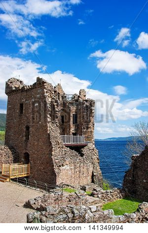 Grand Tower Of The Urquhart Castle In Loch Ness Scotland