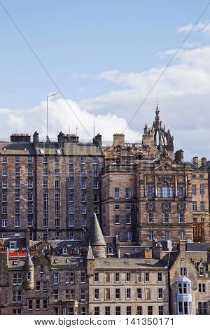 Old Town And Steeple Of St Giles Cathedral In Edinburgh