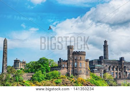 Panorama Of Calton Hill In Edinburgh In Scotland