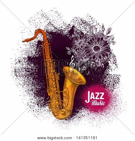 Saxophone, sax. Jazz or Blues music vector illustration