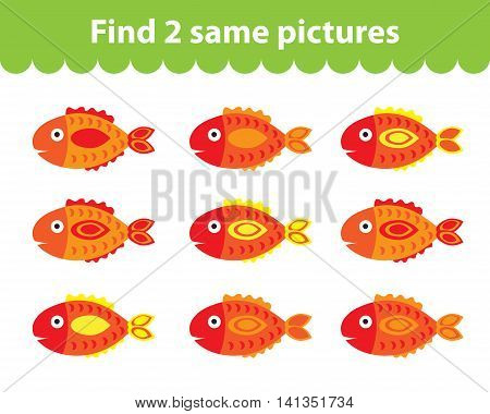 Children's educational game. Find two same pictures. Set of fish for the game find two same pictures. Vector illustration.
