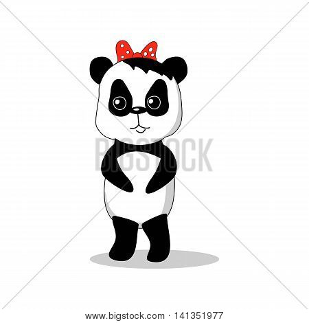 Panda girl vector illustration isolated hand-drawn cartoon character black and white bear with red bow knot little baby animal drawing nursery art picture children style image on white background
