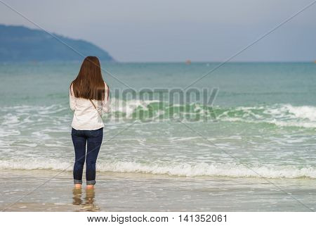 Young Girl At China Beach In Danang In Vietnam