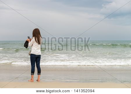 Young Girl On The China Beach Danang In Vietnam