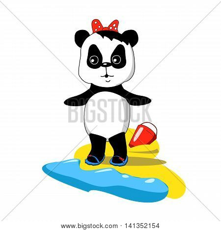 Cute baby panda on the beach with sea wave and sand vector illustration in cartoon doodle style. Hand-drawn character for nursery art summer vacation travel story. Little bear on seaside image