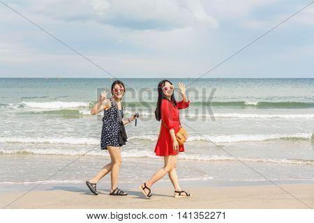 Young Girls Smiling At China Beach Of Danang