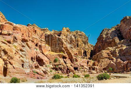View of ancient ruins at Petra - Jordan