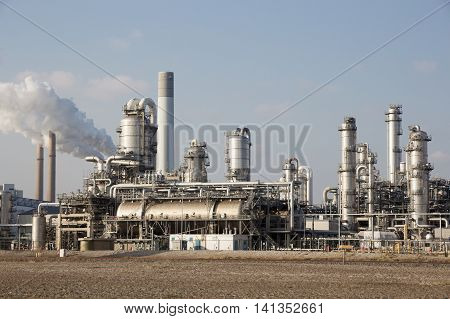 tubes and cooling towers of a petrochemical industrial plant