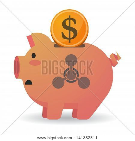 Isolated Piggy Bank Icon With A Chemical Weapon Sign