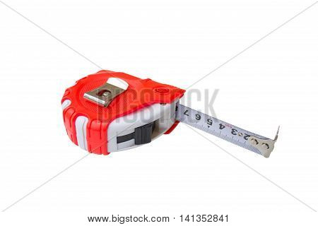 red Tape measure with black cover isolated on a white background.
