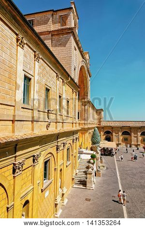 Inner Square Of Vatican City In Italy