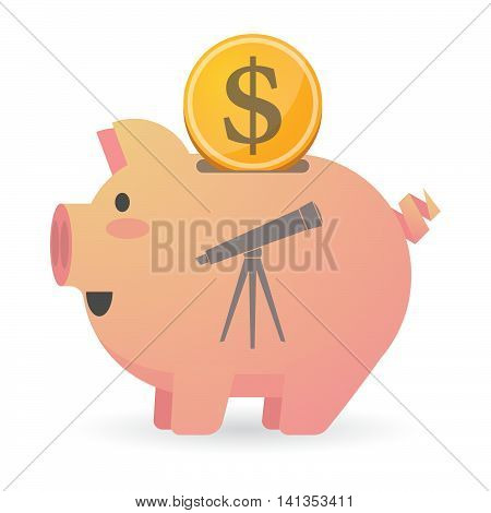 Isolated Piggy Bank Icon With A Telescope