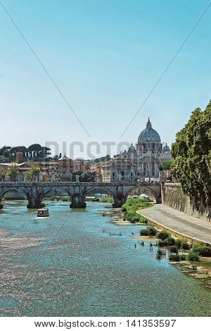 Saint Peters Basilica Dome And Ponte Sant Angelo Bridge