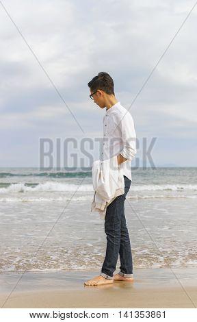 Young Fellow At China Beach In Danang In Vietnam