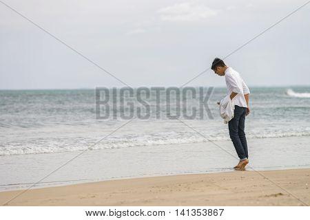 Young Fellow At China Beach In Danang Of Vietnam