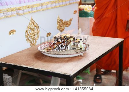 kind of wood flower to be placed on the site of cremation, cremate of Buddhism religion
