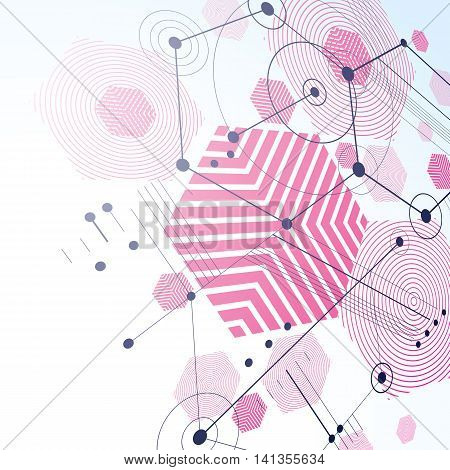 Bauhaus retro perspective magenta art vector background made using lines and honeycombs.