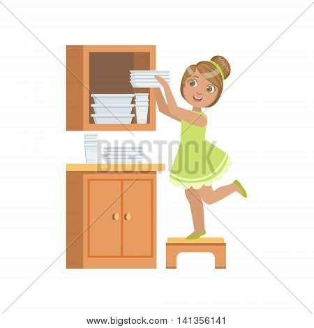 Girl Putting The Plates In Cupboard Simple Design Illustration In Cute Fun Cartoon Style Isolated On White Background