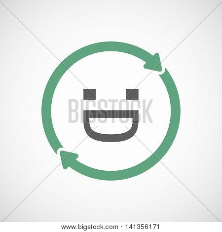 Isolated Reuse Icon With A Laughing Text Face